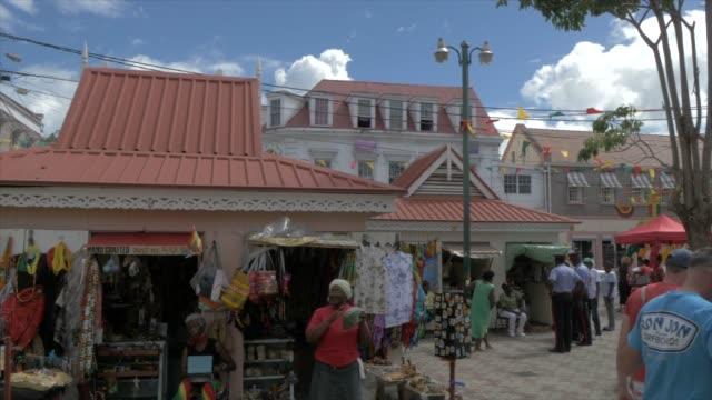 view of stalls on melville street, st. george's, grenada, windward islands, west indies, caribbean, central america - st. george's grenada stock videos and b-roll footage