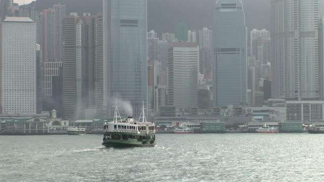 View of Star Ferry cruising in Hong Kong China