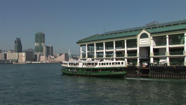 View of Star Ferry cruising in Hong Kong China