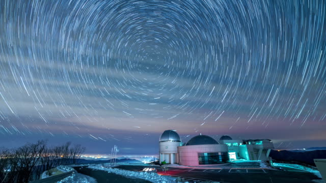 View of Star Field and Star trail from Jogyeongcheol Observatory in winter