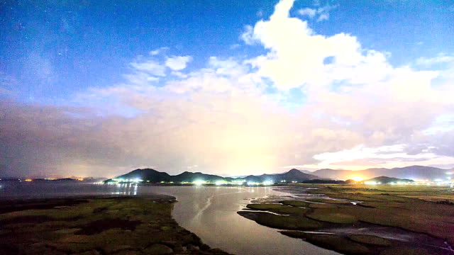 view of star field, milky way in suncheonman bay(natural landmark,ecological park) at sunset to night - natural landmark stock-videos und b-roll-filmmaterial