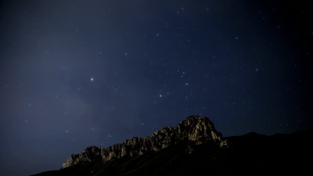 View of star field over Ulsan Rock of Seoraksan mountain (Korea Natural Monument 171)