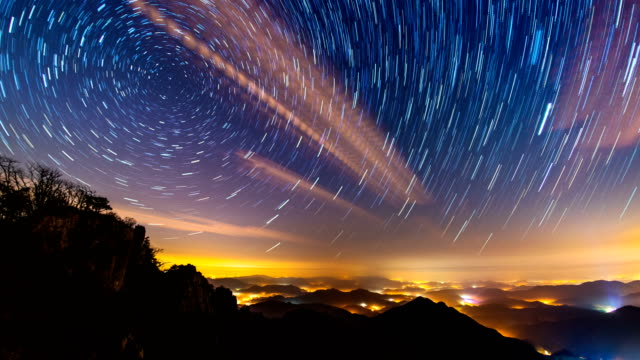View of star trail at Daedunsan mountain (Officially designated as a provincial park in Korea)