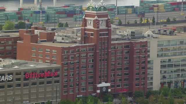 WS AERIAL View of Starbucks Center corporate headquarters / Seattle, Washington, United States