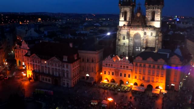 view of stare mesto and city of prague at night - stare mesto stock videos and b-roll footage