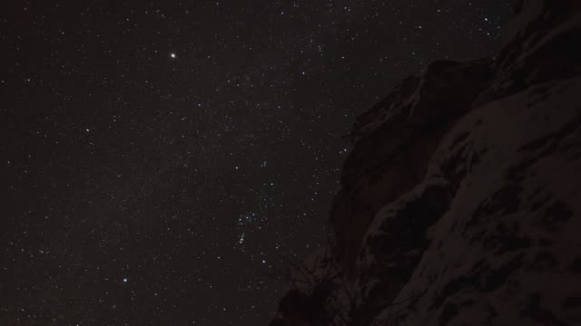 WS T/L LA View of Stars behind cliff / Red Lodge, Montana United, States