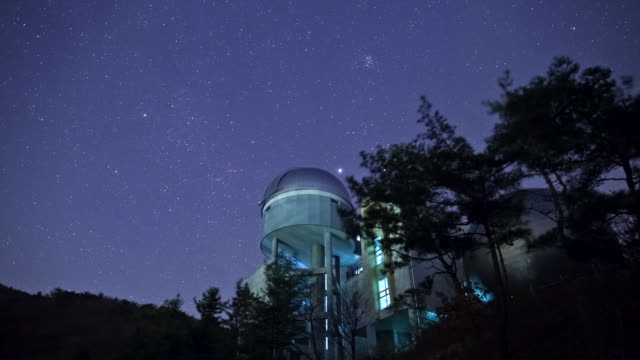 WS T/L View of stars diurnal motion and astronomical observatory / Chungcheongbuk-do, Norway