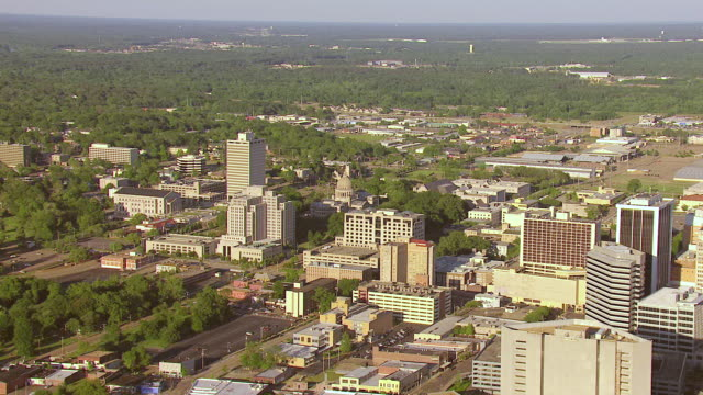 ws aerial view of state capitol building and downtown / jackson, mississippi, united states - jackson stock videos & royalty-free footage