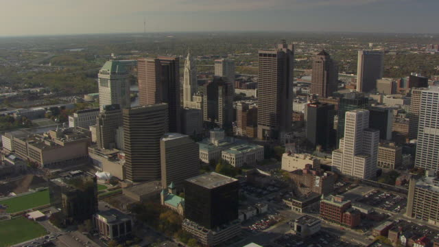 WS AERIAL View of State House amidst skyscrapers / Columbus, Ohio, United States