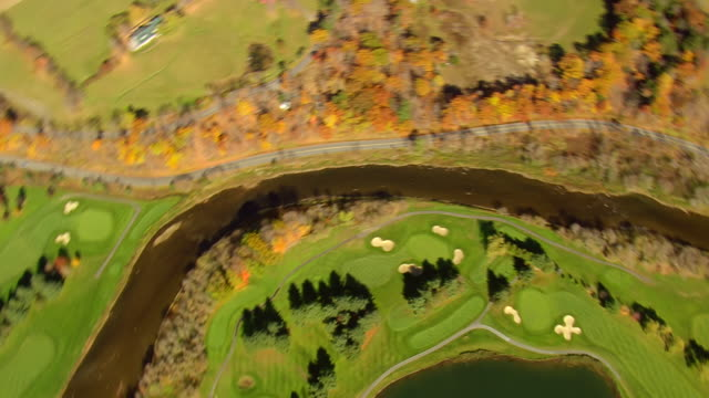 ms aerial view of state park and lakeland golf course at quechee village / vermont, united states - 50 seconds or greater stock videos & royalty-free footage