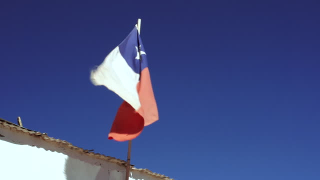 ms view of static flag waving in wind / angostura, chile - wiese stock videos & royalty-free footage