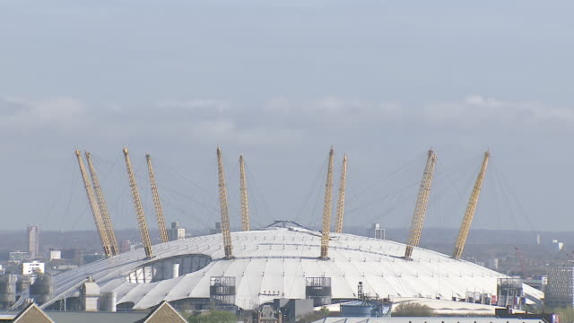 ws view of static shot of o2, london (millennium dome) / london, united kingdom  - dome stock videos & royalty-free footage