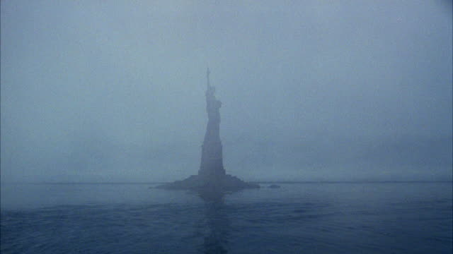 ws view of statue of liberty at ocean - female likeness stock videos & royalty-free footage