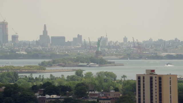 MS AERIAL View of statue of liberty / Philadelphia