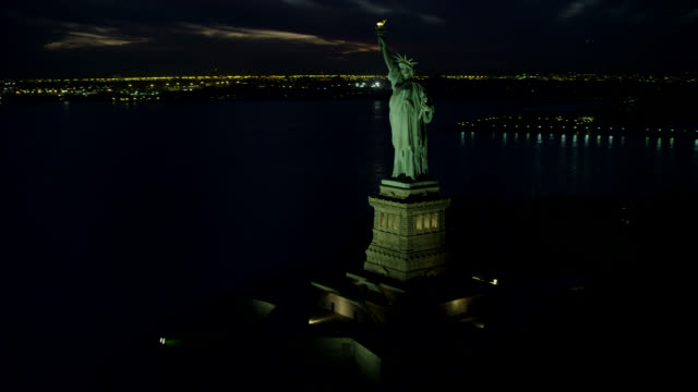 'WS AERIAL TS View of Statue of Liberty's torch / New York City, United States'