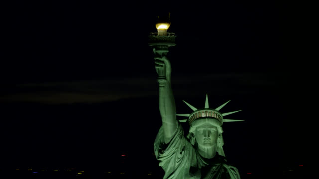"""ws aerial ts view of statue of liberty's torch / new york city, united states"" - statue of liberty new york city stock videos & royalty-free footage"
