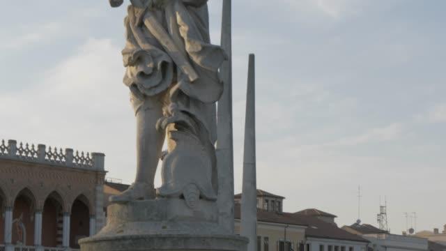 view of statues in prato della valle, padua, veneto, italy, europe - prato stock videos and b-roll footage