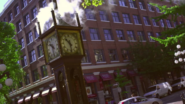 MS View of Steam Clock in Vancouver Gas Town / Vancouver, British Columbia, Canada