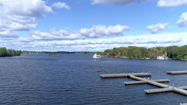 view of steamship and pier in muskoka, gravenhurst, ontario, canada at daytime - ontario canada stock videos & royalty-free footage
