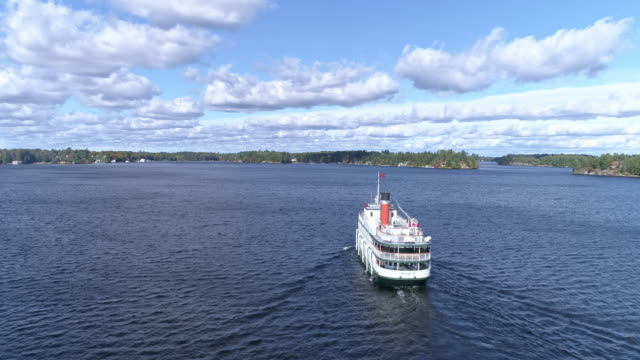 view of steamship in muskoka, gravenhurst, ontario, canada at daytime - wake water stock videos & royalty-free footage