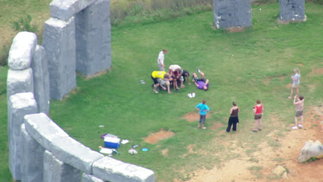ws aerial zi zo ds view of stone henge in polystyrene / virginia, united states - obelisk stock videos & royalty-free footage