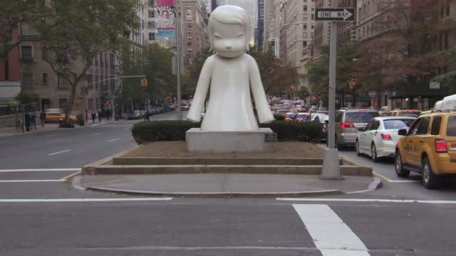ws view of stone statue at street / new york, new york,united states - female likeness stock videos & royalty-free footage