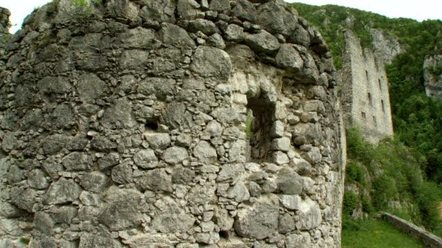 ms zo zi ds view of stone wall of rock castle kamen / begunje na gorenjskem, slovenia - stone wall stock videos and b-roll footage