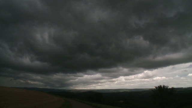WS T/L View of storm clouds / Kirf, Rhineland-Palatinate, Germany