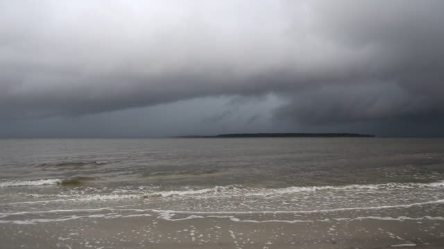 WS View of storm coming into ocean / St Simon's Island, Georgia, United States