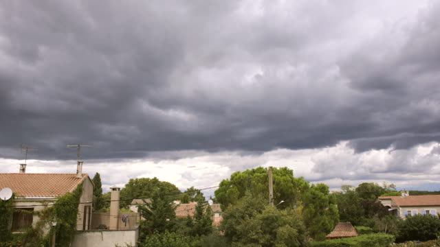 WS T/L View of stormy clouds / St. Remy de Provence, Provence, France