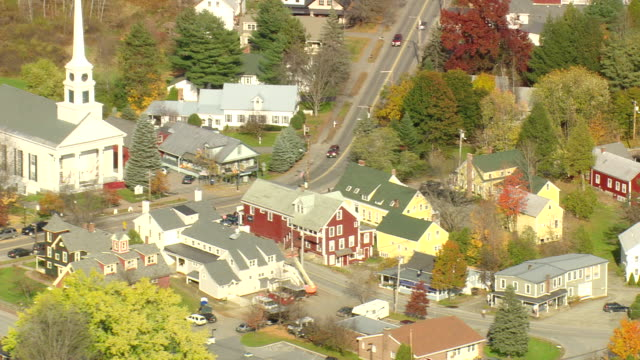 ms aerial ds pan view of stowe town / vermont, united states - vermont stock videos & royalty-free footage