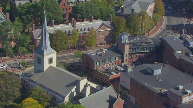 WS AERIAL POV View of Straus Hall with city / Cambridge, Massachusetts, United States