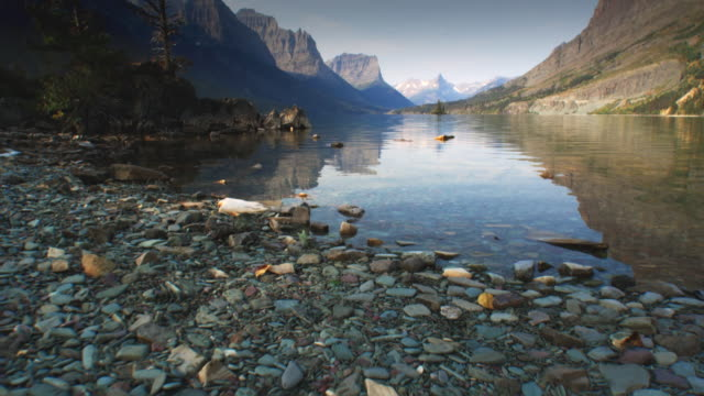 WS POV View of stream at Glacier National Park / Glacier National Park, Montana, USA