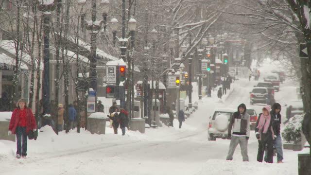 view of street in portland usa - portland oregon fall stock videos & royalty-free footage