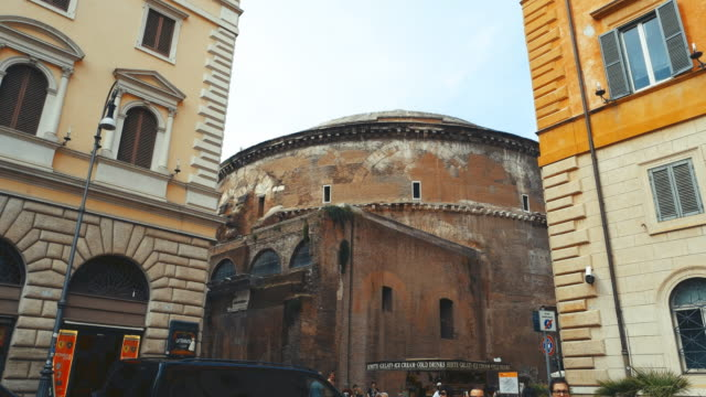 view of street near the pantheon - pantheon rome stock videos and b-roll footage