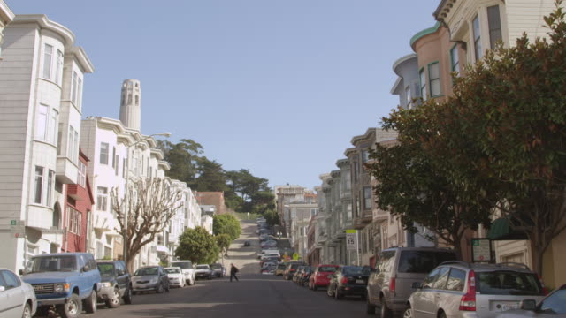 ws view of street on nob hill with vehicles and buildings / san francisco, california, united states - nob hill stock videos & royalty-free footage