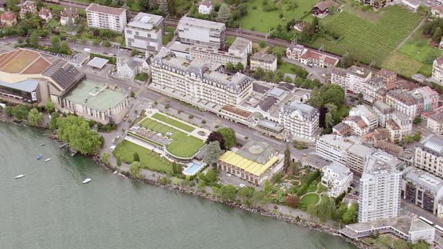 vidéos et rushes de ws aerial view of street way between city montreux / vaud, switzerland - montreux