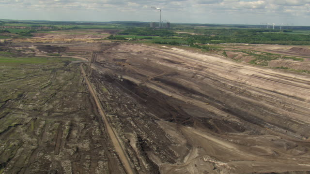 WS AERIAL View of strip mine and working with big machines at Hotensleben / Germany