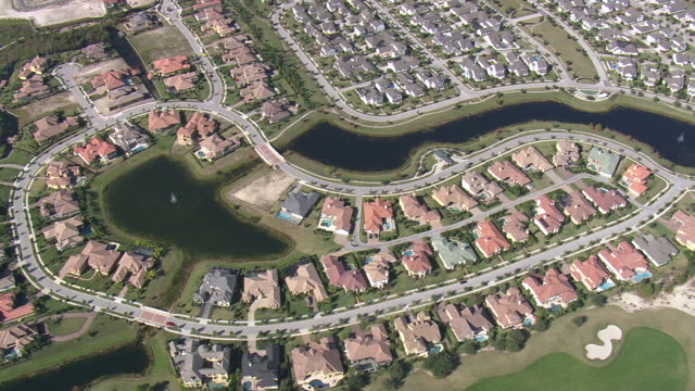 AERIAL WS View of Suburbs  / Florida, United States