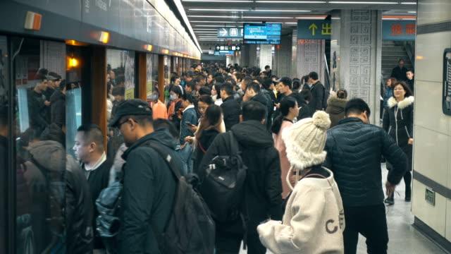 view of subway station,xi'an,china. - einschienenbahn stock-videos und b-roll-filmmaterial