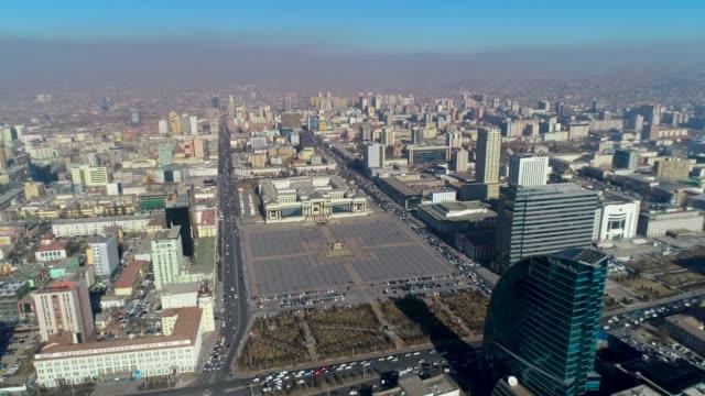 vidéos et rushes de view of sukhbaatar square and cityscape in ulan bator, mongolia - mongolie indépendante