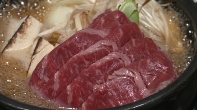 View of Sukiyaki(Japanese dish that prepared and served in the Japanese hot pot style) being boiled on hot pot