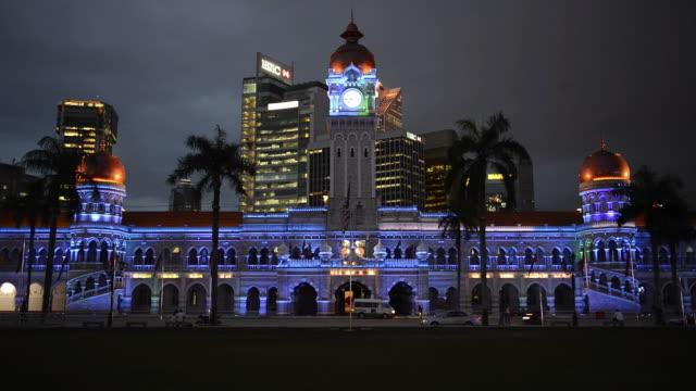 vídeos y material grabado en eventos de stock de ws view of sultan abdul samad building at night / kuala lumpur, malaysia - edificio del sultán abdul samad