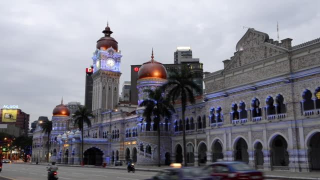 vídeos y material grabado en eventos de stock de ws view of sultan abdul samad building / kuala lumpur, malaysia - edificio del sultán abdul samad