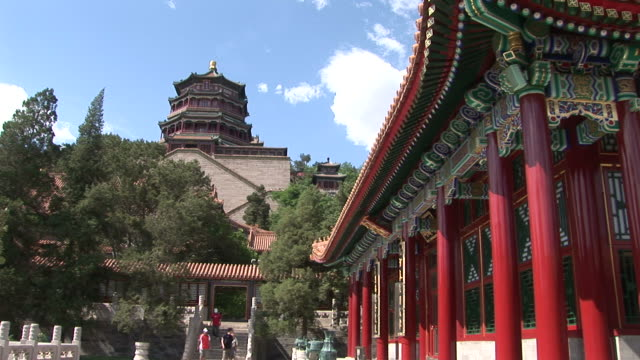 view of summer palace in beijing china - summer palace beijing stock videos & royalty-free footage