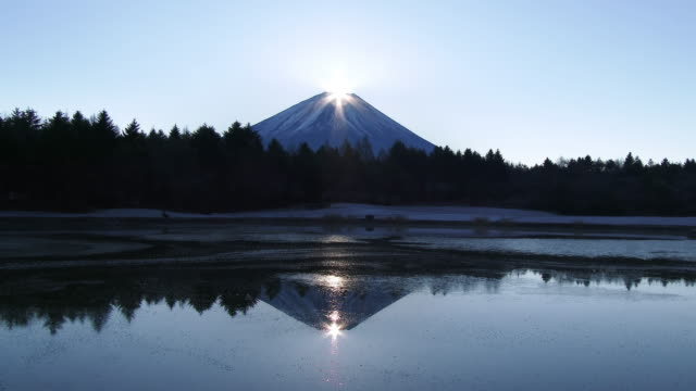 vídeos de stock, filmes e b-roll de ws view of sun rising in top of mount fuji with reflecting on lake / yamanashi, japan - 1 minuto ou mais