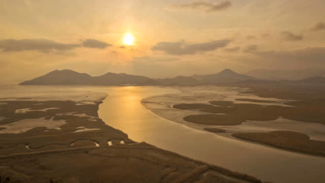 ws t/l view of suncheon bay ecological park at sunset / suncheon, jeollanam-do, south korea - jeollanam do stock videos & royalty-free footage