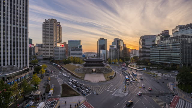 view of sungryemun gate (also called namdaemun gate, the first korean national treasure) at sunset - concepts stock videos & royalty-free footage