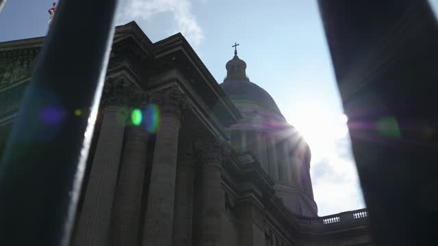 view of sunlight entering between pantheon / paris, france - stationary process plate stock videos & royalty-free footage