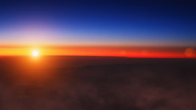 ws view of sunrise above clouds / oslo, norway - horizont über land stock-videos und b-roll-filmmaterial
